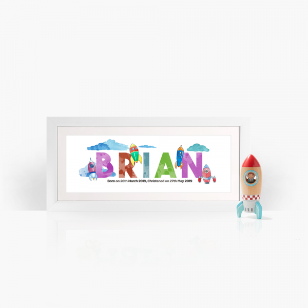 space rockets personalised frame