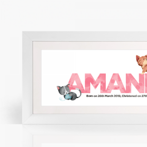 Personalised cats frame pink